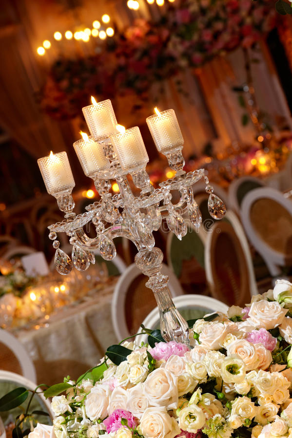 Classy wedding table setting. A beautiful wedding table setting with crystal candle holder