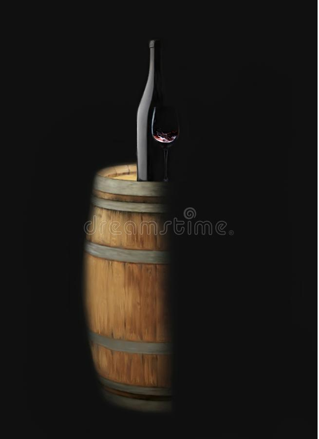 Classy wine barrel wine bottle and wine glass. From the black shadows breaks forth a classic elegant oak wine barrel with a sophisticated bottle and a half glass stock illustration