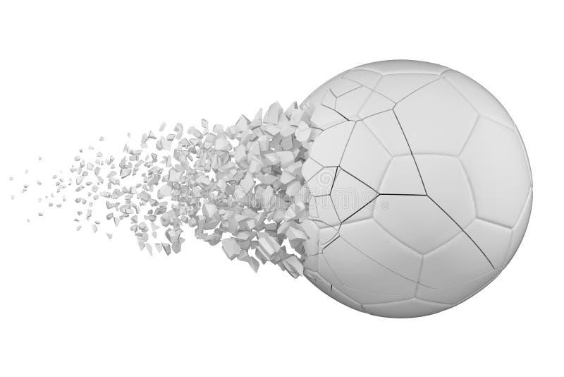 ?clatement de l'illustration r?aliste de trame du ballon de football 3D Boule du football avec l'effet d'explosion Élément d'isol illustration libre de droits