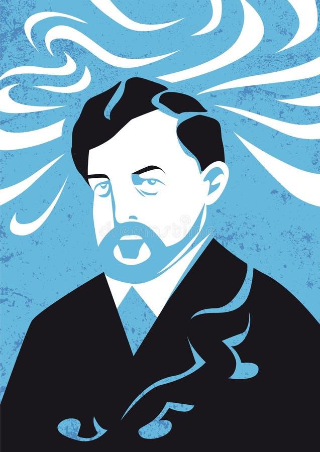 Claude Debussy portret, wektorowa ilustracja