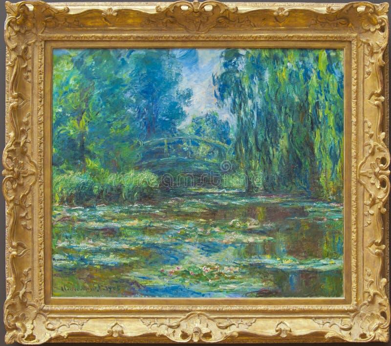 Claude Monet, el puente sobre la charca del Agua-lirio imagenes de archivo
