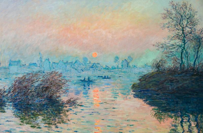 Claude Monet-Landschaftsölgemälde stock abbildung