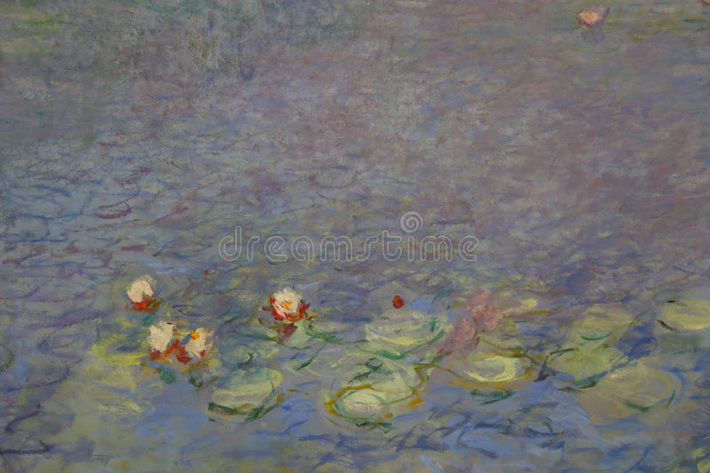 Claude Monet målning presenterade på stor målning i Musée de l'Orangerie, Paris, Frankrike - som sköts i Augusti 2015 royaltyfri foto