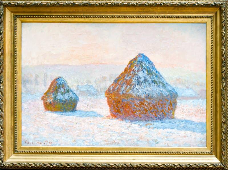 Claude Monet, Wheatstacks, Schnee-Effekt, impressionistische Malerei, 1890, Öl auf Segeltuch, goldener Rahmen lizenzfreie stockfotografie