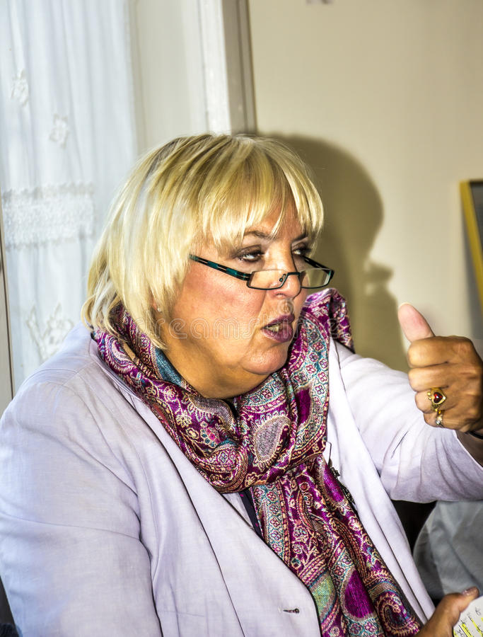 Claudia Roth. Former National Chairman of the green party, Germany, now Vice-President of the German Bundestag at a meeting with voters in small town stock photo