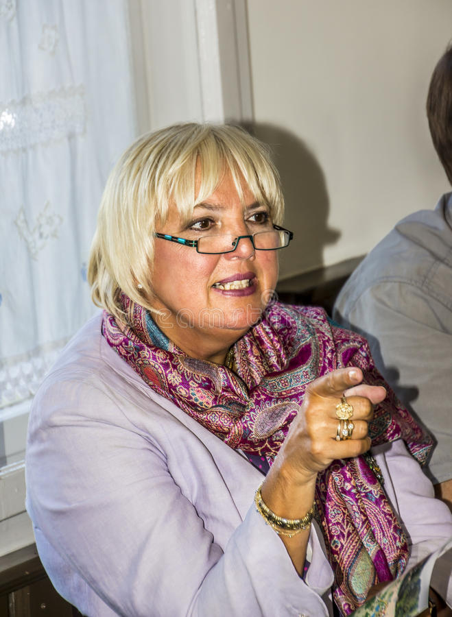 Claudia Roth. Former National Chairman of the green party, Germany, now Vice-President of the German Bundestag at a meeting with voters in small town stock photos