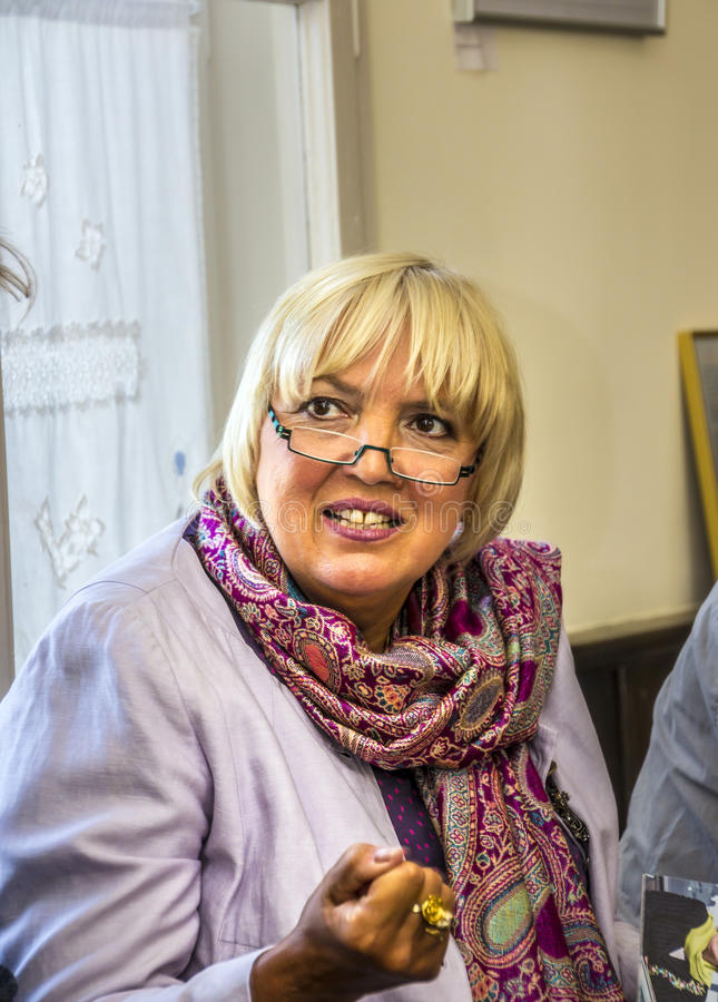 Claudia Roth. Former National Chairman of the green party, Germany, now Vice-President of the German Bundestag at a meeting with voters in small town stock image