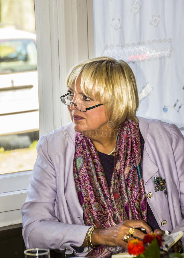 Claudia Roth. Former National Chairman of the green party, Germany, now Vice-President of the German Bundestag at a meeting with voters in small town stock images