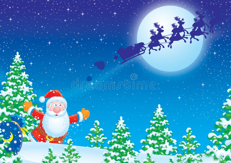 Claus το έλκηθρο santa τρεξιμάτων του διανυσματική απεικόνιση