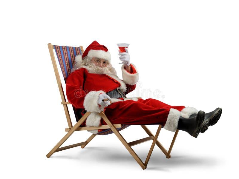 Claus χαλαρώνει το santa στοκ εικόνες