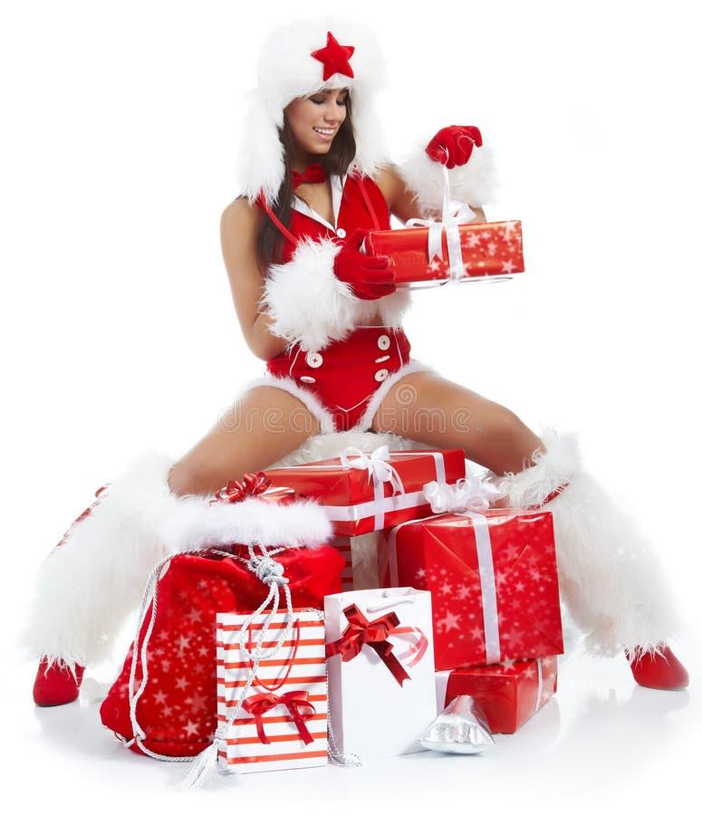 claus одевает носить santa девушки стоковое изображение rf