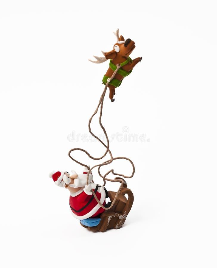 claus одна сани santa riding северного оленя стоковое изображение rf