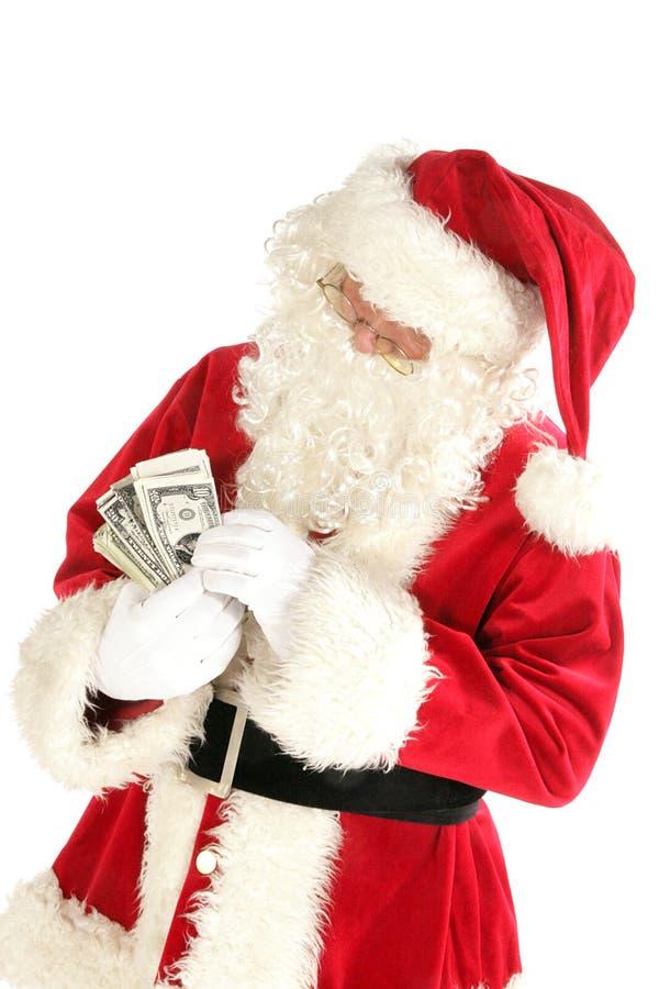 claus подсчитывая деньги santa стоковое изображение rf