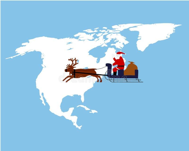 Claus ameryki północnej jeździecki jego sanie Mikołaja royalty ilustracja