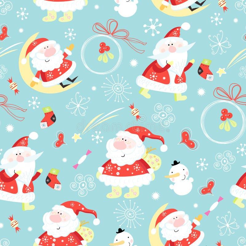 claus bezszwowy deseniowy Santa ilustracja wektor