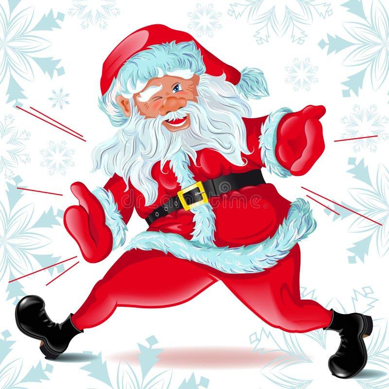 claus biega Santa mrugnięcia ilustracji