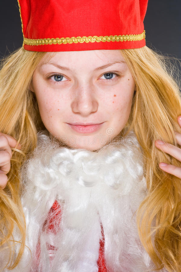 claus dziewczyna Santa poważny obraz stock