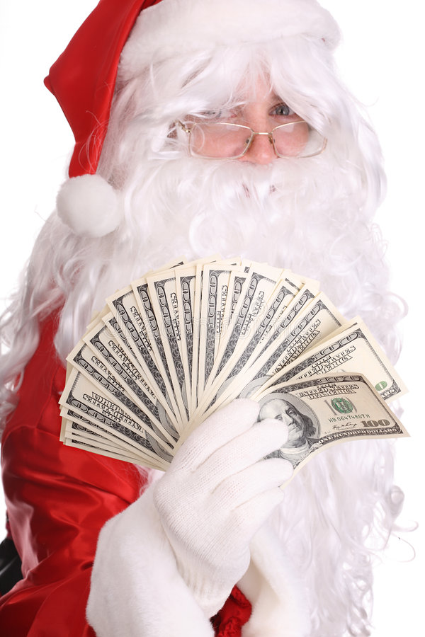 claus mienia pieniądze Santa fotografia royalty free
