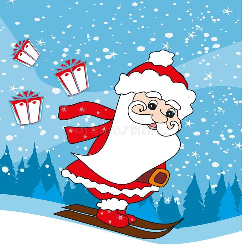claus narciarstwo Santa ilustracja wektor