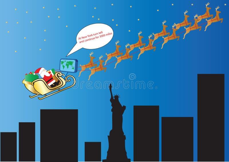 claus nawigaci Santa satelita ilustracji