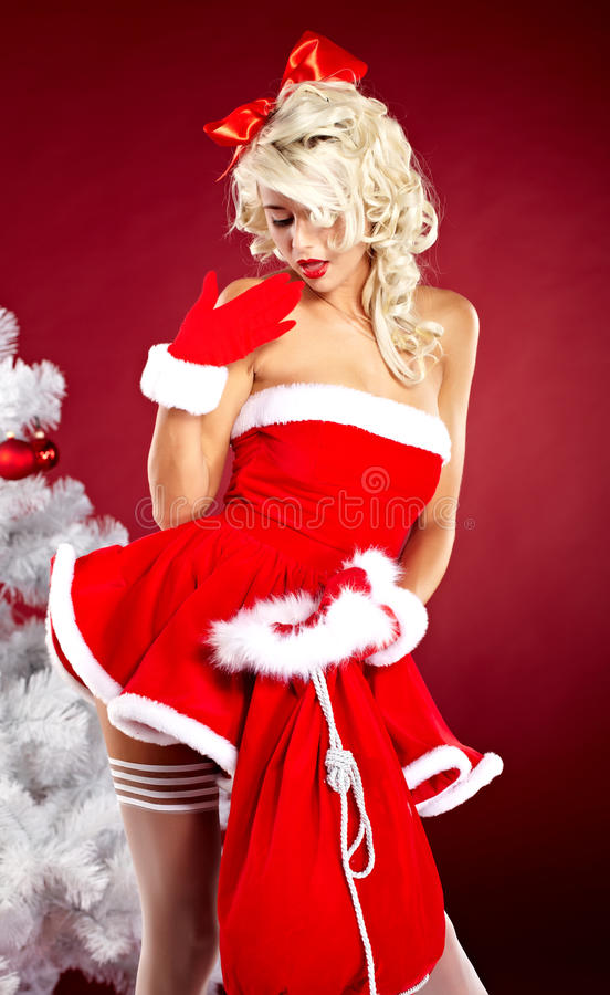 claus odzieżowa dziewczyny szpilka Santa odzieżowy target2321_0_ zdjęcie royalty free