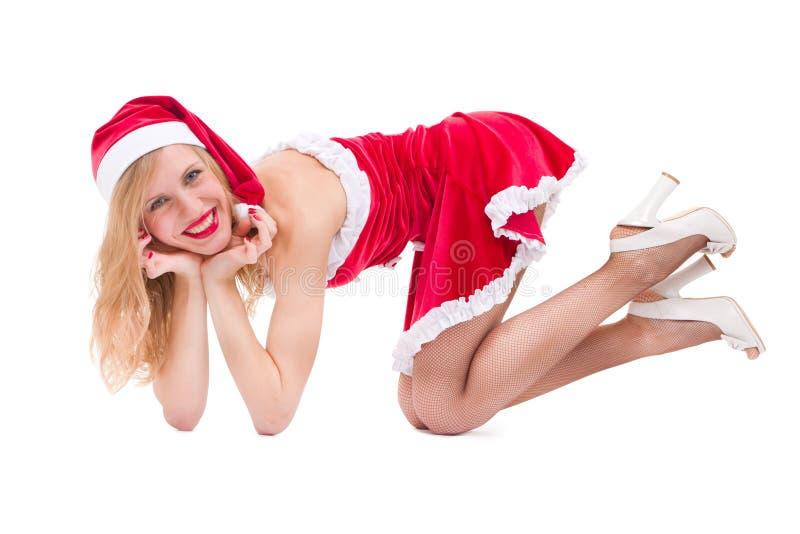claus odzieżowej dziewczyny Santa seksowny target81_0_ zdjęcia stock