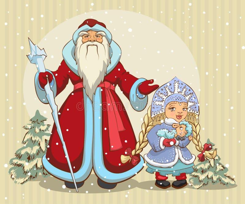 claus ryss santa snow för frostfarfarjungfru klaus santa för frost för påsekortjul sky stock illustrationer