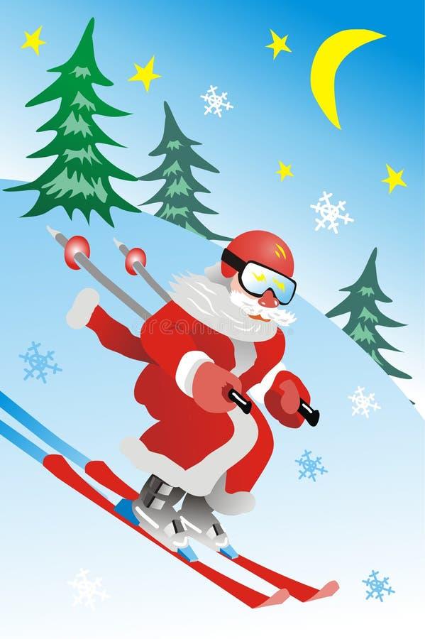 claus santa skier royaltyfri bild