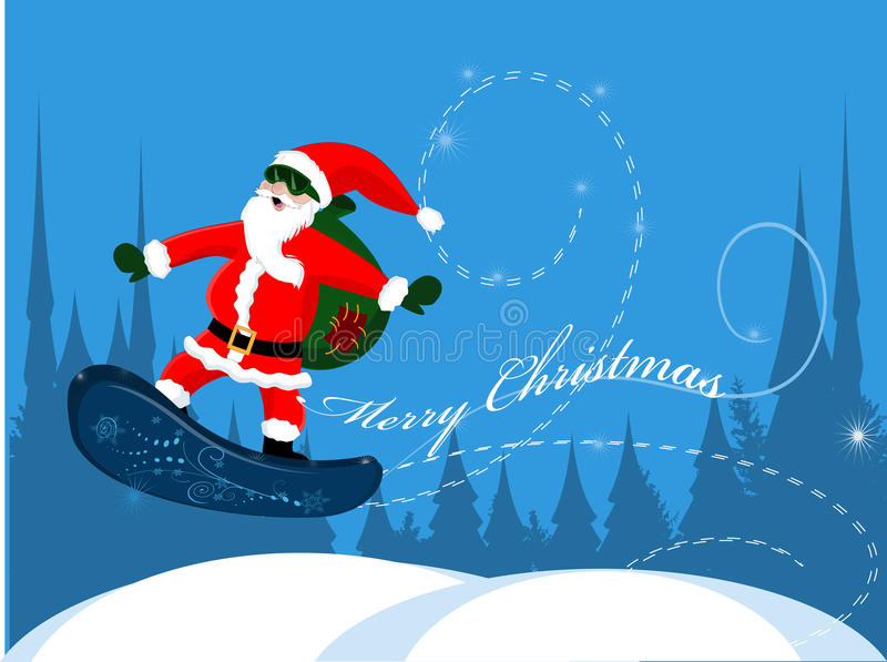 claus santa snowboard stock illustrationer
