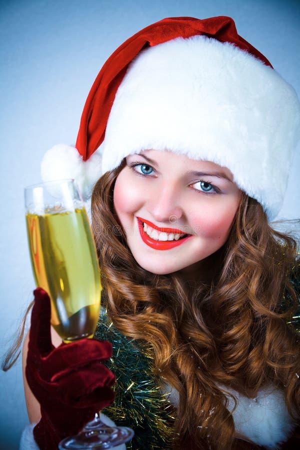 claus szampańska dziewczyna szczęśliwy kapeluszowy Santa zdjęcie royalty free