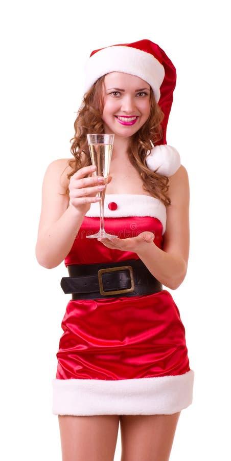 claus szampańska kobieta odzieżowa szklana Santa fotografia stock