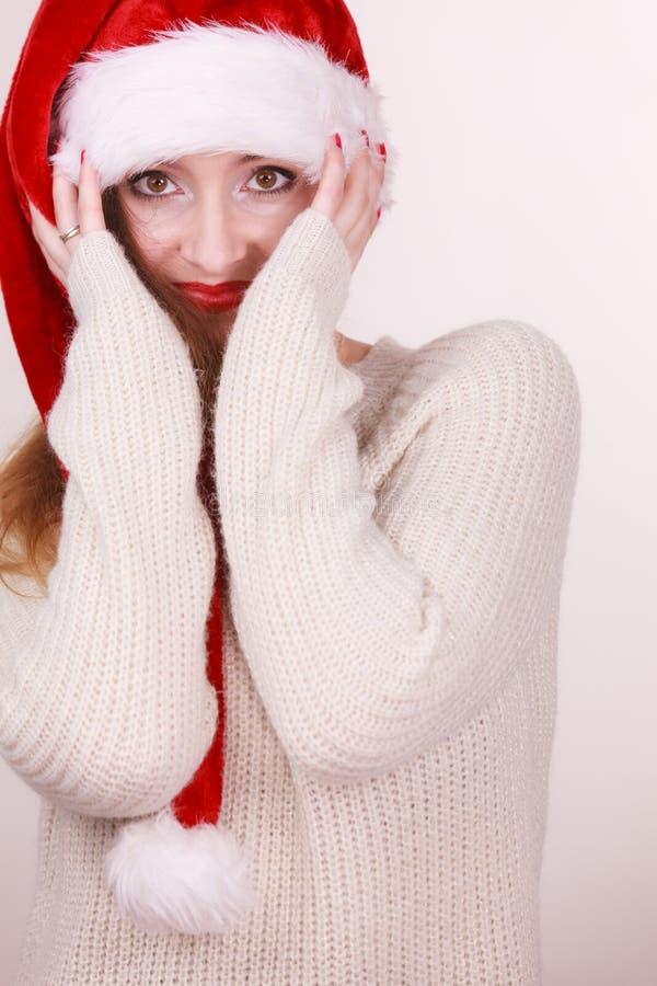 claus target169_0_ kobiety kapeluszowy Santa fotografia royalty free