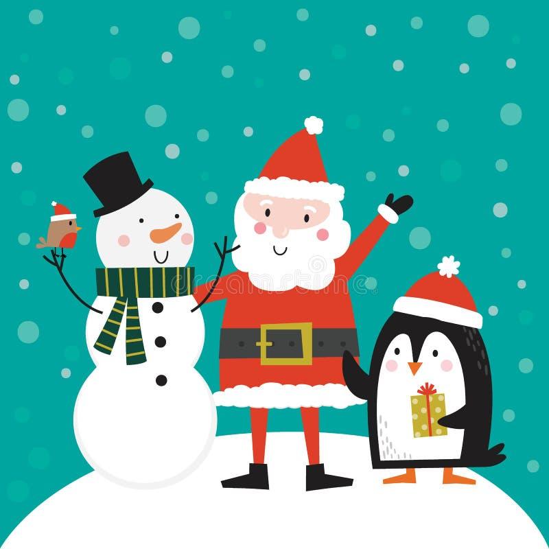 Clause du Père Noël, bonhomme de neige et manchot, caractère de Noël mou, illustration vectorielle illustration stock