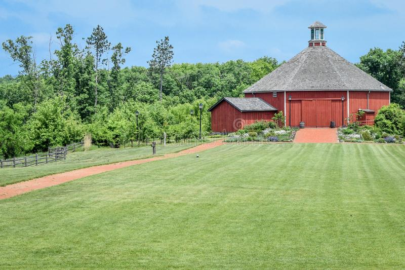 Clausing Barn Restaurant - Old World Wisconsin. The Clausing Barn Restaurant, an octagonal shaped barn built by a German barn builder named Ernst Clausing is one royalty free stock photos