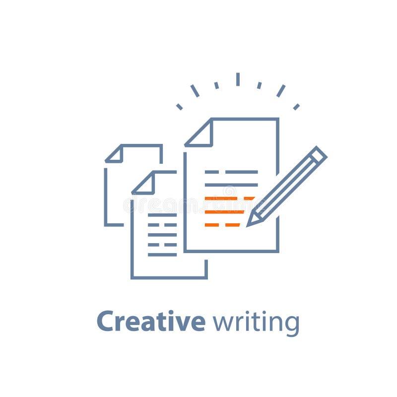 Clausola contrattuale e circostanze, carta del documento, scrittura e concetto di narrazione, breve riassunto illustrazione di stock