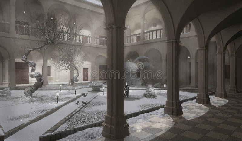 Claustro antiguo, escena del invierno ilustración del vector