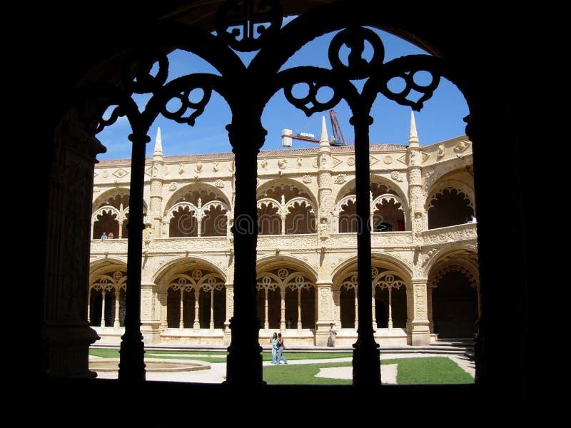 Claustro del S. Jeronimos (detalle) imagen de archivo libre de regalías