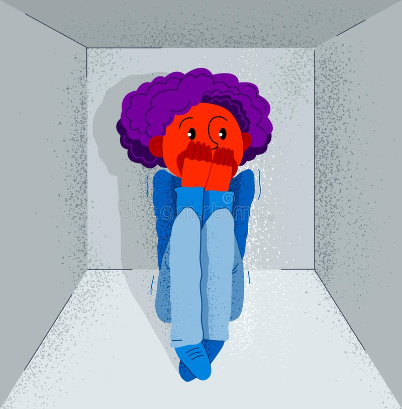 Free Claustrophobia Fear Of Closed Space And No Escape Vector Illustration, Boy Is Closed In Small Room Space And Scared In Panic Royalty Free Stock Photos - 174202858