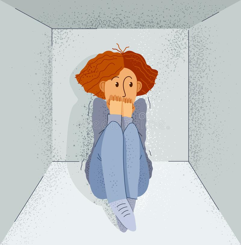 Free Claustrophobia Fear Of Closed Space And No Escape Vector Illustration, Girl Is Closed In Small Room Space And Scared In Panic Royalty Free Stock Photo - 190699325