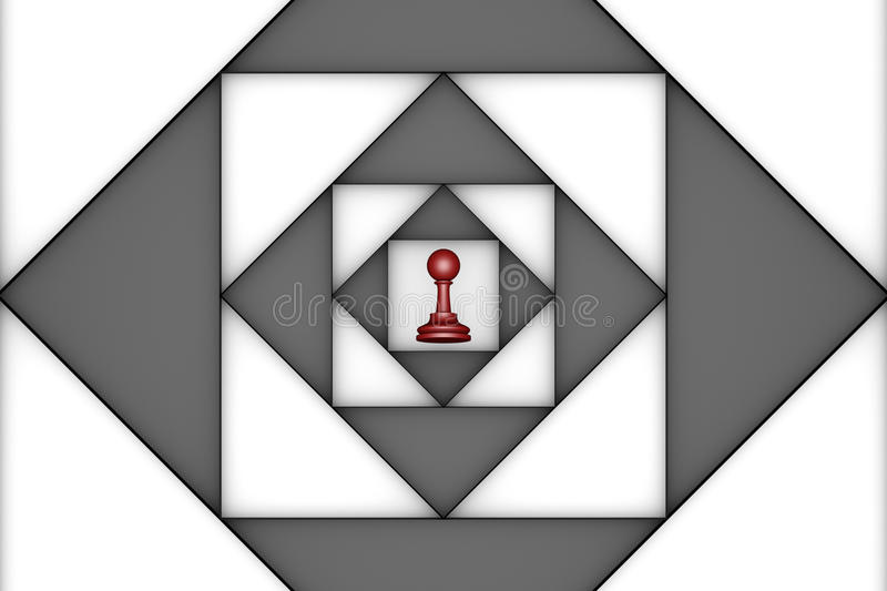 Claustrophobic (chess metaphor). Red pawn in the center of an abstract background. 3d image vector illustration