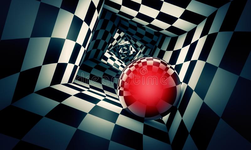 Claustrophobic. Red ball in a chess tunnel concept image. The. Predetermination. Red ball in a chess tunnel concept image. The space and time. 3D illustration royalty free illustration
