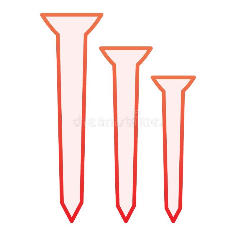 Clava el icono plano Iconos rojos de la construcci?n en estilo plano de moda Dise?o del estilo de la pendiente de la carpinter?a, ilustración del vector