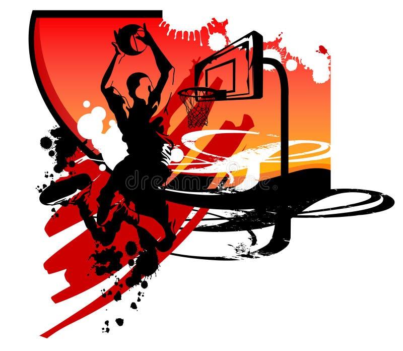 Clavada del golpe de las siluetas del baloncesto ilustración del vector