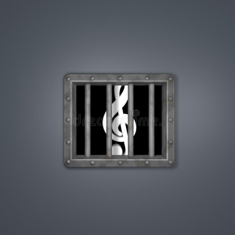Clave atrás da janela da prisão ilustração stock