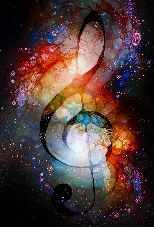 Clave da música no espaço com estrelas Fundo abstrato da cor Efeito de vidro Conceito da música ilustração do vetor