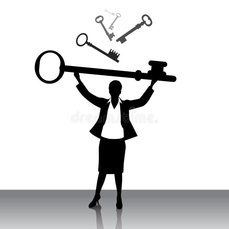 Clave de elevación de la mujer de negocios ilustración del vector
