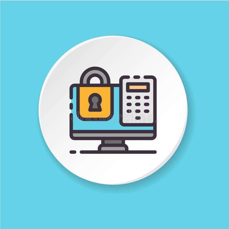 Clave de la autorización con el icono del color de la contraseña Ordenador de la cerradura - concepto de la seguridad de datos libre illustration