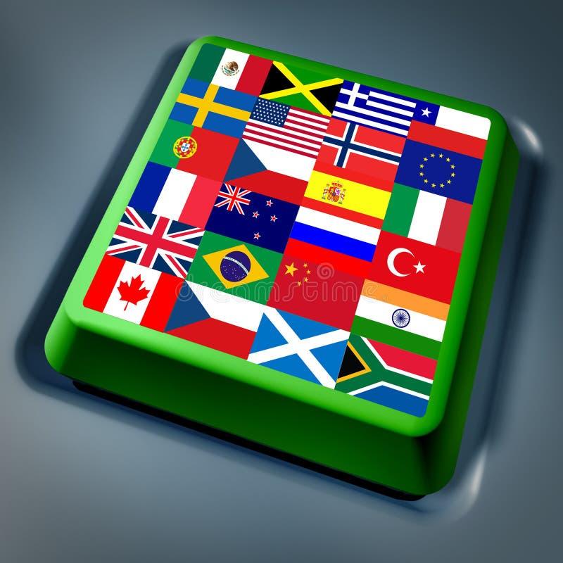 Clave de ordenador global internacional de los indicadores stock de ilustración