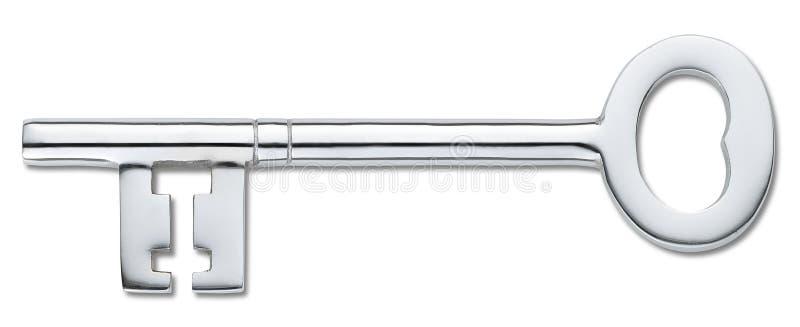 Clave de plata de la puerta aislado en el blanco (camino de recortes) foto de archivo