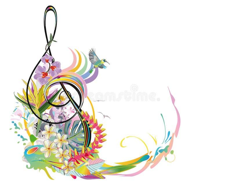 Clave de sol abstrata decorada com as flores do verão e da mola, folhas de palmeira, notas, pássaros ilustração do vetor